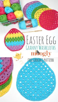 Easter Egg Granny Washcloth - Free Crochet Pattern on Moogly - - Is there anything better than the happy colors of spring after a long dreary winter? Add some crochet color with the free Easter Egg Granny Washcloth! Easter Egg Pattern, Easter Crochet Patterns, Crochet Bunny, Knitting Patterns Free, Crochet Flowers, Free Crochet, Irish Crochet, Free Pattern, Holiday Crochet