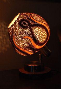 Lamp from gourd Mystery Of Light, Calabash Gourd, Gourd Lamp, Dragonfly Art, Pumpkin Art, Painted Gourds, Shadow Art, Candle Lamp, True Art