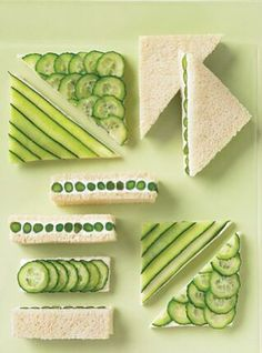 Cucumber and asparagus tea sandwiches / Martha Stewart. I LOVE Cucumber and Cream Cheese Sandwiches. Cucumber Tea Sandwiches, Wrap Sandwiches, Finger Sandwiches, High Tea Sandwiches, St Patricks Day Food, Snacks Für Party, Party Appetizers, Food Design, Food Art