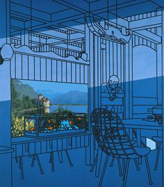 """""""After Lunch"""" Patrick Caulfield. Caulfield's paintings explore alternative ways of picturing the world. After Lunch was one of his earliest works to combine different styles of representation. Caulfield deliberately makes the relationship between these varying representational methods uneasy and ambiguous, so that the picture appears more real than the everyday world around it."""