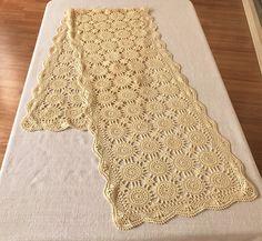 Vintage Long Table Runner Crocheted Creamy Beige Vintage Hand