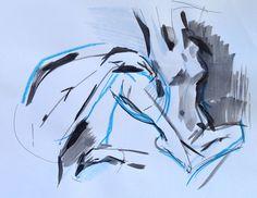 sumi ink figurative nude paintings