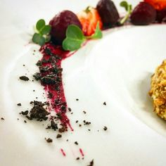 Baked beet with cherry powder,strawberry,3 kinds of cheese in quenelles of a shell of a walnut with basil essence. Idea and serving : Ekaterina Artemeva