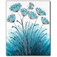 Dagg art teal white painting allium flowers textured by daggart, £144.00