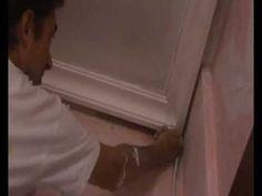 cortar y colocar molduras de escayola en techos ( cut and fit plaster moldings on ceilings ) - YouTube