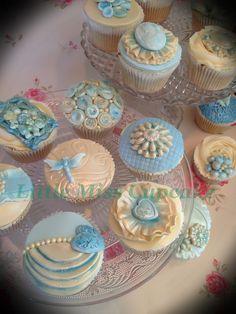 Vintage blue cupcakes - by Littlemisscupcake @ CakesDecor.com - cake decorating website