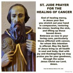 Please join us in praying for all our brothers and sisters who are fighting cancer, for those who have beaten cancer, for those who lost their battle with cancer, and for their families and friends. St. Jude the Apostle, patron saint of hope for desperate cases, pray for us! #WorldCancerDay (Feb 4):