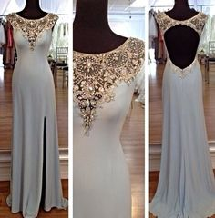 Form fitted gold and white gown