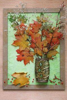 Картина-панно с кленовыми листьями из холодного фарфора и вазой. Осень в ярких тонах. Мастер-класс с пошаговыми фото