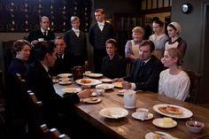 Bates is welcomed back to Downton with breakfast after having served about 10 months in York Prison, autumn 1920.