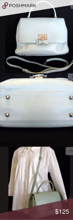 """Brighton My Flat in London Miss Astor Mint Satchel Cool Mint Green Pebbled leather Silver Plated Faux Padlock & Bottom Feet Exterior Back pocket Interior 2 main compartments-1 zip pocket, 2 cellphone pockets Under front flap is an exterior front slide pocket w magnetic closure Clean Interior Fabric Lining Detachable 22"""" Adj buckle strap Excellent pre-owned condition-slight wear on bottom corner piping 1 tiny dot on the bottom of purse Dimensions  Height 11"""" Length 10.5"""" Depth 5"""" Handle drop…"""