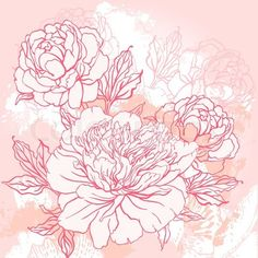 Stock vector of 'Beautiful peony  bouquet design on beige background. Hand drawn vector illustration.'
