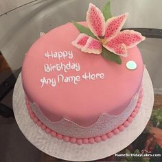 Best Strawberry Cake For Happy Birthday With Name Heart Card