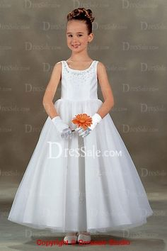 Organza over Satin Ankle Length First Communion Dresses
