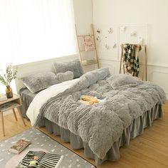 Girls Bedding Sets, Teen Bedding, Queen Bedding Sets, Luxury Bedding Sets, Gray Bedding, Cute Bedding, Faux Fur Bedding, Grey Duvet, Cozy Bedroom