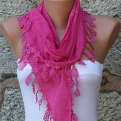 Hot Pink Cotton ScarfFall Easter Mom Cowl Bridesmaid by fatwoman