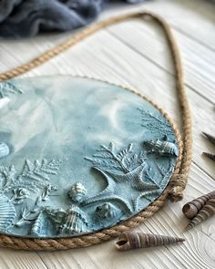 Blue marine wall sculpture with jute holder. Round seashells and starfish bas relief for bathroom decor or mudroom entryway in ocean style Plaster Crafts, Plaster Art, Clay Crafts, Arts And Crafts, Jute, Paris Crafts, Clay Ornaments, Wall Sculptures, Clay Art