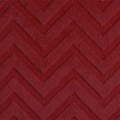 Plush Red Cuddle Fabric Embossed Chevton