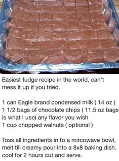Easiest Fudge Recipe in the World Homemade Candies, Homemade Fudge, Homemade Sweets, Homade Brownies, Easy Sweets, Candy Cookies, Brownie Cookies, Easiest Fudge Recipe In The World, Easy Fudge