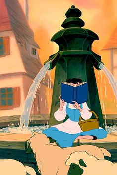 Belle reading her favourite book by the fountain with sheep in my favourite Disney Movie: Beauty and the Beast