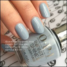 OPI Reach for the Sky – Infinite Shine Spring 2016 Spring Nails, Autumn Nails, Spring Nail Colors, Creative Nails, Grey Nail Polish, Opi Nails, Opi Blue Nail Polish, Stiletto Nails, Nail Color Designs