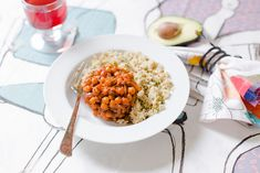 Spiced Chickpeas with Harissa and Tamarind - heady melody of savoury and subtle tartness. Easy Vegan Dinner, Vegan Dinner Recipes, Vegan Dinners, Tofu, Bowls, Tacos, Curry, Tamarind Paste, Dried Lemon