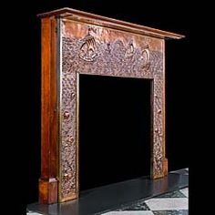Antique Arts and Crafts copper fireplace mantel