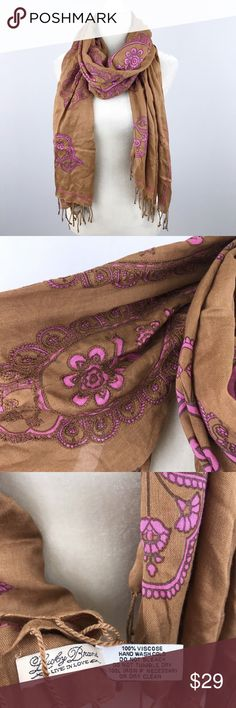 Lucky Brand Brown Pink Paisley Embroidered Scarf Lucky Brand floral paisley scarf. One small pull (see image), otherwise very lightly used. Lucky Brand Accessories Scarves & Wraps