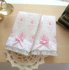 dollhouse towels his and hers set 12th scale miniature by Rainbowminiatures on Etsy