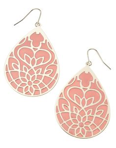 ::: Accessorize Taiwan :::Stained Glass Window Teardrop Earrings Stained Glass Window Teardrop Earrings NT 315 Large teardrop earrings with a beautiful cut out flower detail, non refundable.
