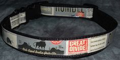 Adjustable Dog Collar from Recycled Great Divide Rumble Oak Aged India Pale Ale beer labels by squigglechick