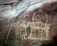 Rock drawing of Buddhist monks making offerings to a stupa Chilas II, Karakorum Highway Upper Indus River, Northern Areas of Pakistan ca. 1st century C.E.