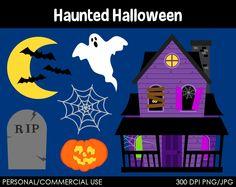 Haunted Halloween Clipart  Digital Clip Art - 2015 Halloween for Kids