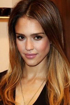 Jessica Alba with ombre hair