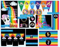 Cumpleaños Olivia, Temática: My Little Pony. Diseño: Invitación, caja golosinera, envoltorios para golosinas, etiquetas para botellas, círculos multiuso, tarjetón comida, Cartel mesa dulce y Banderines