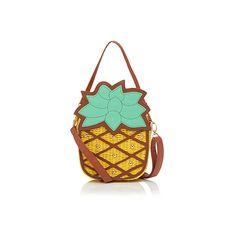 Pepaloves Pineapple bag ($77) ❤ liked on Polyvore featuring bags, handbags, summer straw handbags, summer straw purses, summer handbags, summer bags and summer straw bags