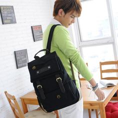 Japan and Korean Style Canvas Casual Flap Backpacks for Men in Black
