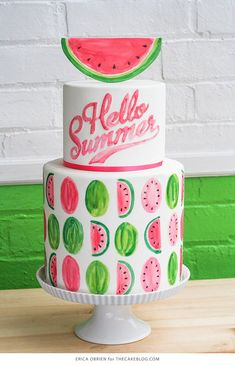 Watermelon parties are a genius idea! It's bright and colorful perfect for a summer BBQ or birthday party. This DIY party is really easy from the paper banners to the watermelon cupcakes! Here's 16 DIY watermelon party ideas! Watermelon Birthday Parties, Summer Birthday, Divorce Cake, Fondant Cakes, Cupcake Cakes, Fruit Cakes, Fondant Bow, 3d Cakes, Fondant Tutorial