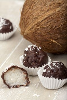 Coconut Lovers, THIS is the dessert for you. : The Hearty Soul Cookie Recipes, Snack Recipes, Dessert Recipes, Coconut Truffles, Homemade Sweets, Chocolate Packaging, Healthy Cake, Yummy Snacks, Healthy Snacks