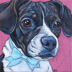 Boggle (Boston Terrier and Beagle Mixed Breed) Dog in Bow Tie Custom Pet Portrait Painting in Acrylic Paint.  I think I will need to order a painting of my dog Riley.  Really wonderful work and a great gift idea!