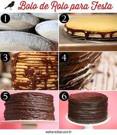 receita como fazer bolo de rolo para festa recheado de chocolate.