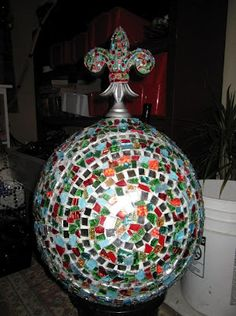 DIY Mosaic Bowling Ball Garden Art Project for Your Garden