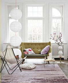 amazing living room. lavender and olive.