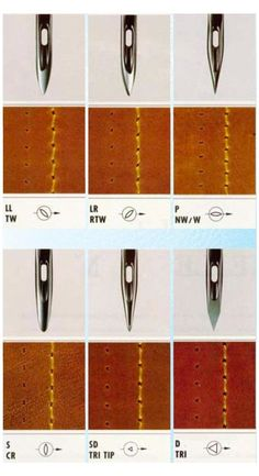 Best 11 Sewing Machine Types of sewing machine needles for stitching leather according to desirable seam look – 1 cone/spool of Nylon or leather sewing threads ( black, dark brown, brown, beige,cream) for machine stitching leather shoes/bags/pur Leather Art, Sewing Leather, Leather Gifts, Leather Pattern, Leather Design, Leather Tooling, Leather Shoes, Custom Leather, Handmade Leather