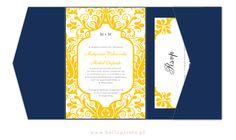 Piękne żółte zaproszenia z oryginalnym ornamentem w granatowym folderze    yellow wedding invitation in navy pocketfold