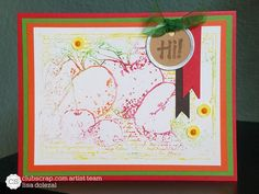 #clubscrap, orchard kit, gelatos misted with water, second generation