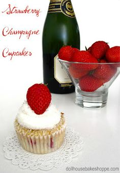 Strawberry Champagne Cupcakes {Small Batch - Yield 8} for Valentine's Day