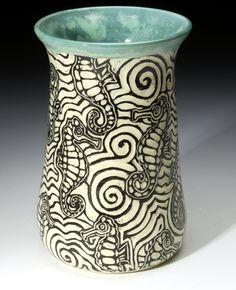 seahorses! on pottery! LOVE!!!