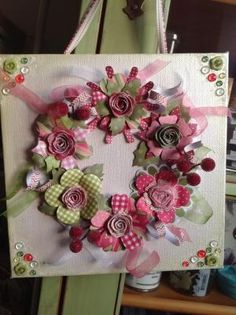 Craftwork cards flower wreath on canvas! by rosella Making Fabric Flowers, Diy Flowers, Paper Flowers, Craftwork Cards Christmas, Christmas Cards, Christmas Ideas, Christmas Decorations, Xmas, Wreath Crafts