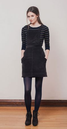 YOKO Espresso: Jumper in stretchy Japanese corduroy. NICOLE Navy/Mustard stripes: Classic ¾ sleeves striped sweater with boat neck. Bamboo knit in Montreal. Betina Lou Fall-Winter 2014-15.